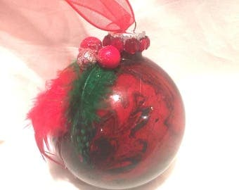 Red and Green Hand inside Swirl  Marble Painted Glass Ball Christmas Ornament Feathers Ribbon