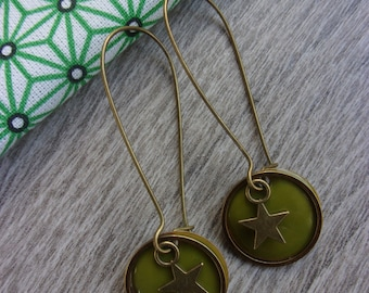 """* Collection new * earrings """"Saturnia"""" and their Japanese (for pierced ears) green enamel and brass case"""