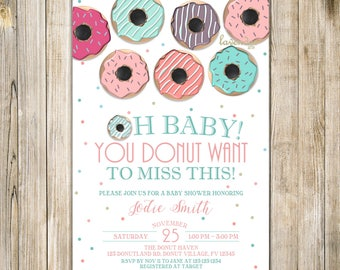 CHALKBOARD DONUT BABY Shower Invitation, Teal Pink Mint Breakfast Baby Shower Invite, Girl Shower, Donut & Pyjamas, Donut Want to Miss, LA22