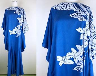 1970s 1980s Blue Caftan // 70s 80s Tropical Hawaiian Floral Maxi Dress Cover Up MuuMuu