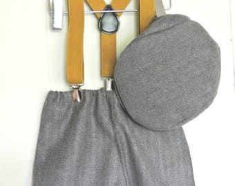 Tweed sitter set with colour braces and bow tie photo prop