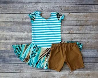Leopard And Teal Stripe Swim Dress - Size 4 Girl's Sleeveless Swimsuit - Teal And Brown - Bathing Suit - Little Girl's Swimwear - Swim Skirt