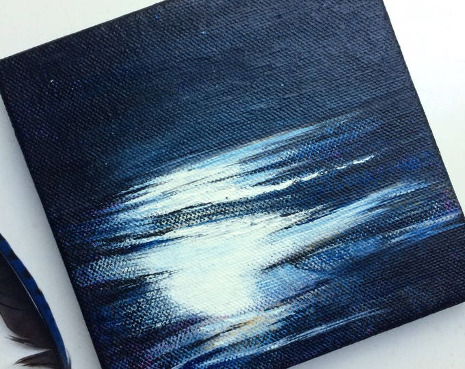 In Part / original tiny painting / acrylic painting on canvas / moon painting / water reflection painting / small abstracted landscape