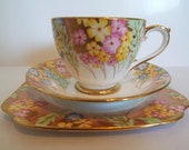 Vintage Bell China Gold and Flower Teacup Trio. Hand Painted 1930s Vintage Gold Tea Cup and Cake Plate. Perfect For An Afternoon Tea Party
