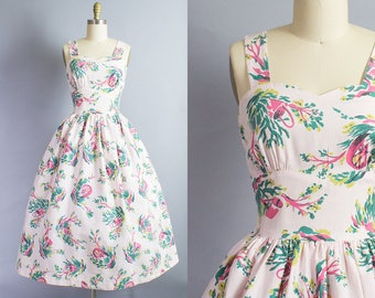 1950s Wheels and Baskets Floral Dress/ XS (33B/25W)