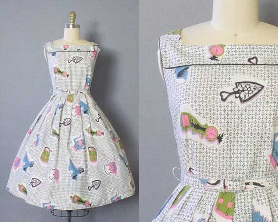 1950s Novelty Cotton Dress/ Small (34B/26W)