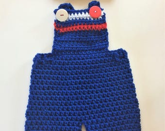 2-Blue Set of Crochet Baby Pants with Suspenders, Overalls Pants,  and Beanie