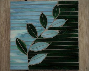 Stained Glass Mosaic Wall Hanging/ Mosaic Plaque/ Mosaic Leaf/ Green