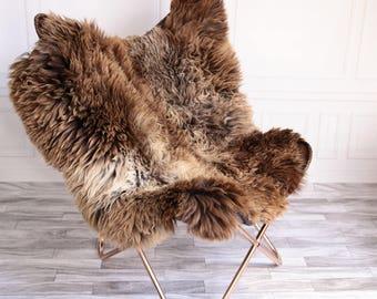 Double Sheepskin Rug | Square Sheepskin | Shaggy Rug | Chair Cover | Brown Rug | Carpet | Brown Sheepskin