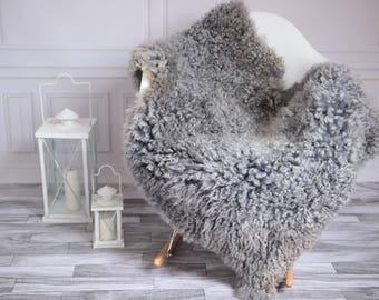 Genuine Rare Gotland Sheepskin Rug - Curly Fur Rug - Natural Sheepskin - Gray Sheepskin