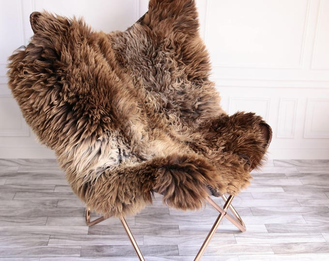 Double Sheepskin Rug | Square Sheepskin | Shaggy Rug | Chair Cover | Brown Rug | Carpet | Brown Sheepskin