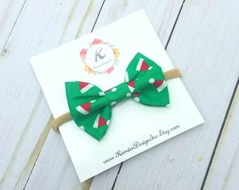 Christmas nylon headband - santa hat bow - christmas bow - holiday bow - baby girl headbands - green bow - nylon headbands - baby hair bows