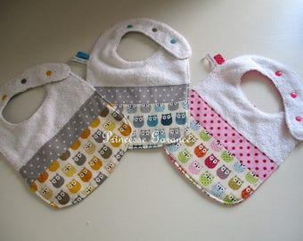 Set of 3 bibs in white Terry cotton owls - custom