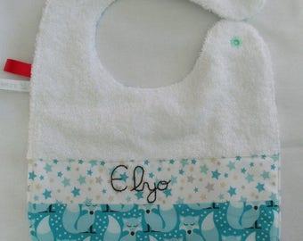 Bib lined with Terry cloth and cotton blue Fox