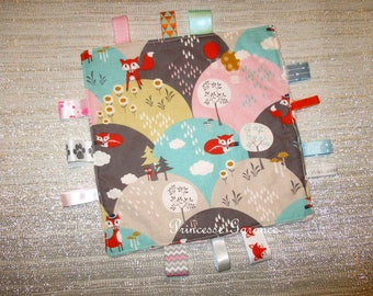Doudou etiquetts, ribbons, cotton foxes, pink minky