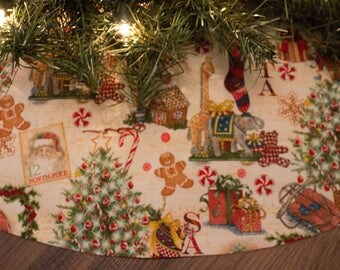 Christmas Tree Skirt-Santa Claus-Wreath-Classic Christmas-Traditional Christmas-Christmas Tree-Gingerbread Man-Stockings-Antique-36""
