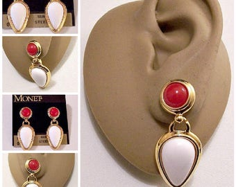 Monet Red White Bead Pierced Earrings Gold Tone Vintage Long Double Rib Lined Edge Teardrop Dangle Round Top Connector