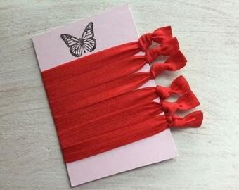 Red elastic hair ties Foe hair ties No crease Elastic ribbon hair ties Yoga ties  Gift idea ponytail holder hair accessory