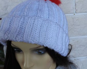 Hand Knitted Women's White Two Style Winter Hat With A Pompom Of The Colours Of The French Flag - Free Shipping