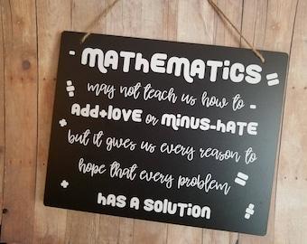 Mathematics Teacher Gift Chalkboard Style Sign - Math Teacher Gift - Teacher's Gift - Teacher Gift - Mathematics Teacher Gift