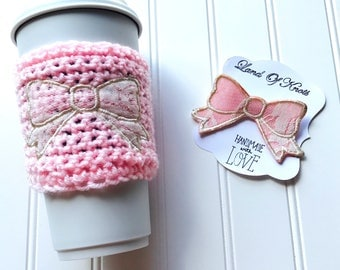 Pink lace bow, pink coffee sleeve, pink coffee cozy, bow coffee cozy, bridal party gifts, baby shower gift