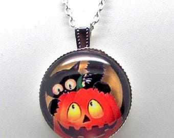 Halloween cat on a pumpkin necklace