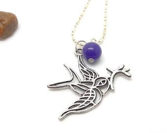 Long necklace mi bird silver natural pearl purple