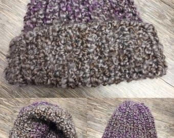 Handknit Purple/gray hat