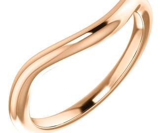 Curved Wedding Band 'Palais Royale' Contour Band Simple Wedding Ring Custom Wedding Band Set Rose Gold 10k 14k 18k Wedding Ring Set Rose