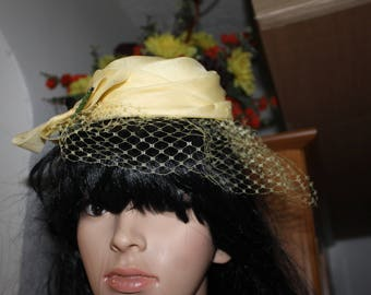 Made in USA, Union Made, Yellow Fancy Hat, Derby Hat, Easter Hat, Mesh Cover, Layered Hat w Bow
