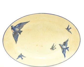 Vintage Buffalo Pottery Bluebird Oval Serving Dish - FREE SHIPPING