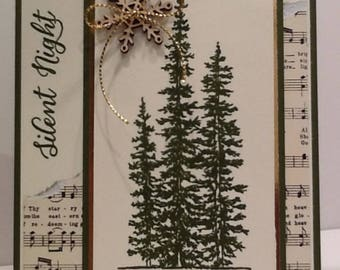 Elegant Silent Night Christmas Card - Holiday Card - Embellished Pine Tree Card with Wooden Snowflake - Hand Stamped Stampin Up Card