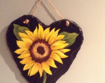 """Sunflower painting on slate with acrylic. Size 9"""" x 10""""  28.00"""