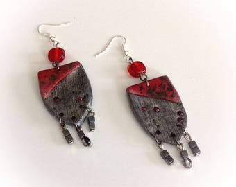 Earrings, polymer clay, Czech glass, red, silver,