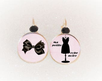silver plated cabochon Stud Earrings small dress black pink tones