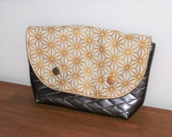 purse pouch bag cotton Japanese gold/white and faux leather quilted