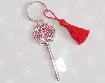 Jewelry bag/key shape key with Liberty Misti cabochon and black/red