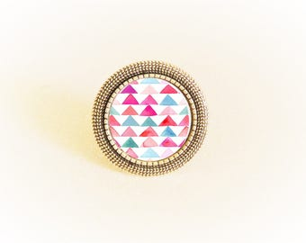 Ring silver adjustable and geometric Art deco cabochon pink/blue triangles