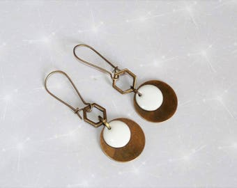 Bronze earrings with white sequin, geometric, chic