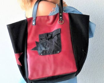 Designer tote bag Burgundy leather Burgundy wine/Black Star canvas black leather handles