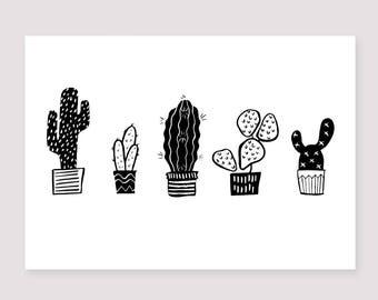 Cactus Botanical Print   Succulent Plants   Wall Art Poster