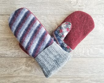 Best Wool Sweater Mittens // Womens Sweater Mittens // Fleece Lined mittens // Red Blue and Gray