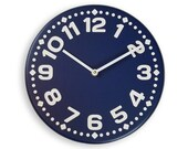 Wood wall clock. Colorful wall clock. Modern wall clock. Navy blue wall clock. 11 inch diameter wall clock. CL4014