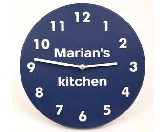 Personalized wall clock. Navy blue wall clock. Modern wall clock. Numbers clock. Wood wall clock. Kitchen clock.  CL4015-NAVYP