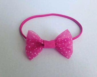Pink headband with fabric bow