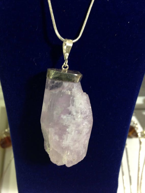 Outstanding Amazing Raw Kunzite Pendant with free sterling silver chain