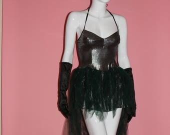 Women's Witch Dress Halloween Costume Pointy Hat Wizard Green Silver Metallic Tutu Gloves Size OS S M L