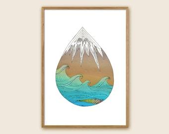 "Mountain and Sea Print - ""Mocean"""