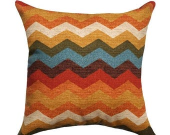 SALE Fall Pillow - Chevron Pillow Cover - Orange Rust Teal Beige Pillow - Waverly Panama Wave Adobe Chevron Throw Pillow Cover -Orange Sham