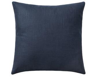 Navy Blue Linen Pillow, Linen Decorative Pillow Covers, Navy Pillow Cover, Solid Navy Blue Throw Pillow, Blue Cushion, Navy Accent Pillow